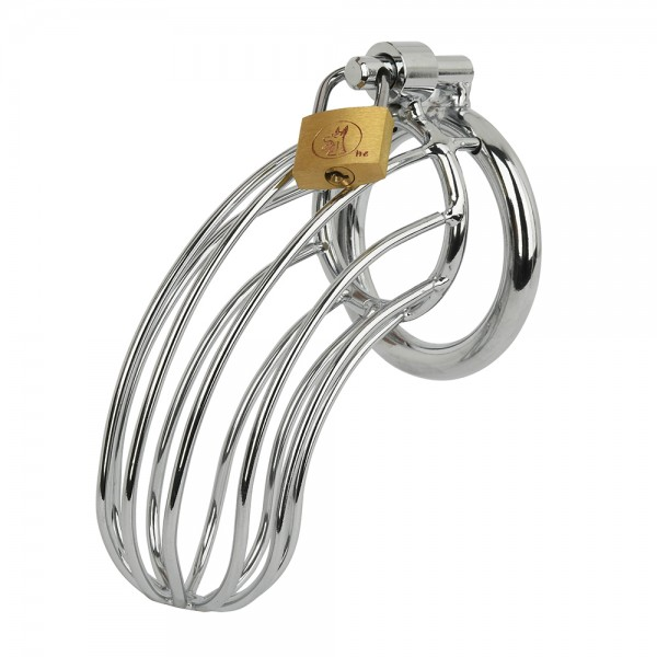 Metal chastity belt with key